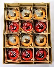 BOX 12 VINTAGE RED AND GOLD MICA MERCURY GLASS CHRISTMAS TREE BAUBLES ORNAMENTS