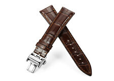20mm 21mm Genuine Calf Leather Watch Band Deployant Strap For Longines Watch