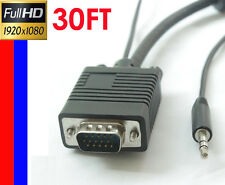 30ft HD15 M/M VGA / SVGA / UXGA with AUDIO Monitor Projector Cable Stereo 3.5mm