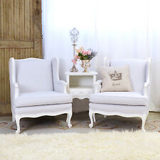 Shabby Cottage Chic Pair Quartz Linen Wingback Chairs French Vintage Style Grey