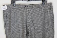 NEW Aldo Valentini Slim Fit flannel trousers pants Size 38 white black Flat #889