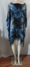 GRAY BLACK TIE DYE BEACH COVER UP PONCHO TOP TUNIC BLOUSE #18