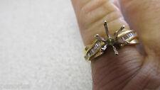 Baguette Diamond Semi mount  Ring 14k Gold  Needs Center Stone