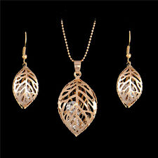 Gorgeous Necklace earrings 18k Gold Filled leaf Rhinestone jewelry sets