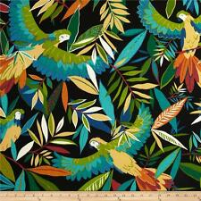 Tropical Birds Outdoor Fabric, Richloom Outdoor Tucuman Ebony, Upholstery Fabric