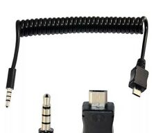 1M USB 2.0 Spiral Coiled Micro 5 Pin Male to 4 Pin 3.5mm Male Extension Cable