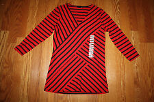 NEW Womens RXB Red and Black Striped V-Neck L/S Shirt Blouse S Small