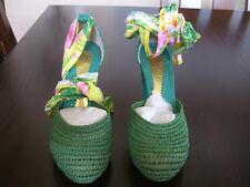 ZINC Green/Floral Print Espadrilles Wedge Heels Women's Shoes 6M NWOB