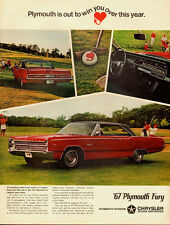 Vintage ad for 1967 Plymouth Fury/Chrysler Motor/Red/Black Hard top (042713)