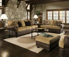 Traditional Beige Brown Living Room Sofa Set w/ Rolled Arms & Nailhead Accents