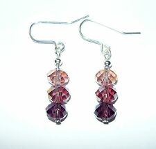 STUNNING SPARKLY FACETTED DROP EARRINGS IN SHADES OF PINK & PURPLE