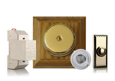 Brass and Varnished Oak Doorbell Kit with Transformer and Push, Model 4HSBkit