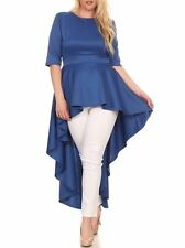 Plus Size Hi Lo Cascade Peplum Dress Top Blouse Tunic