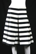 MARC JACOBS Black & White Striped Satin Pleated A-Line Skirt 12
