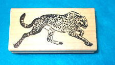 Safari animal rubber stamp wild cats Cheetah or leopard animals wood mounted