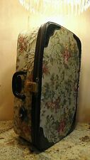 Vintage Saks Fifth Avenue LARK Floral Tapestry Carryon Suitcase Luggage Key Lock