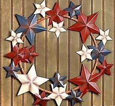 Americana Metal Barn Star Wreath Patriotic Red White blue July 4th Wall Hanging