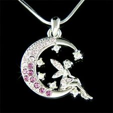 Purple Fairy w Swarovski Crystal Tinkerbell ANGEL MOON Star Pendant Necklace New