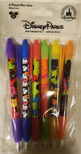 DISNEY PARKS Colorful Mickey Mouse 6 PACK PEN SET black ink rubber grip - NEW