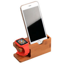 Bamboo Wood Charging Dock Stand Holder for Apple Watch 38/42mm+iPhone 7/6S/Plus