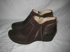 gorgeous womens sz 10 JAMBU Cube leather ankle boots brown shoes comfort wedges