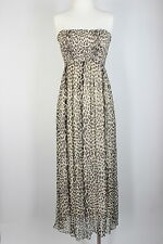 Scoop Maxi Strapless Dress Leopard 100% Silk Beach Sun Smocked Cover Boho Pull S