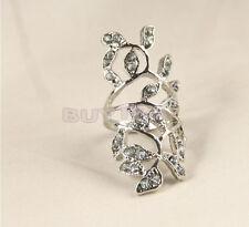 Hot Fashion Women's Plated Crystal  Leaf Above Knuckle Finger Ring Set USSP