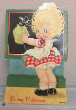 1930's - 1940's GERMAN Mechanical Valentines Day CARD LITTLE GIRL AND CHALKBOARD