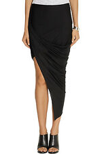 Helmut Lang Asymmetrical Wrap Skirt in Black Kinetic Jersey Size Medium M