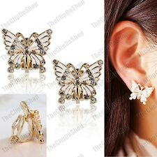 CLIP ON crystal BUTTERFLY white enamel GOLD PLATED EARRINGS vintage butterflies
