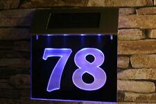 Solar Hausnummer  LED  (3-D Effekt) 185x135 Edelstahl Schild Solarleuchte