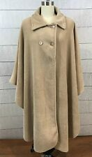 Womens Beige Khaki Fleece Cape Coat Womens One Size Fits Most Cloak
