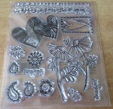 Set of Clear Rubber Stamps - Hearts & Flowers - A great stamp for your cards  BN