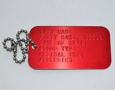 CUSTOM RED MEDICAL ALERT ID DOG TAG WITH CHAIN
