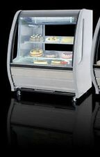 NEW WHITE CURVED GLASS DELI BAKERY DISPLAY CASE REFRIGERATED WITH 4 CASTERS