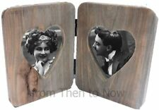 Chic & Shabby Wooden Double Heart Standing Hinged Folding Fold Out Photo Frame
