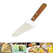 Wooden Hand Stainless Party Cake Pie Pizza Pastry Server Cutter Shovel Knives