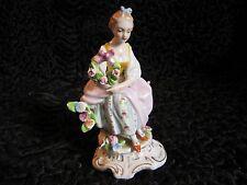 Antique Vintage Sitzendorf Porcelain Flower Girl Figure Ornament Continental