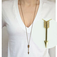 Women Boho Simple Golden Arrow Pendant Long Chain Necklace Jewelry buybuy0101