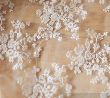 Lace Fabric White Small Flower Embroidery Soft Wedding Fabric 51'' width 1 yard