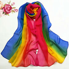 Unisex Mens Womens Gay Pride Rainbow Stripe Chiffon Fashion Scarf