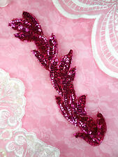 FS511 Applique Fuchsia Sequin Beaded Sewing Crafts Patch Motif Leaf Vine 8.25""