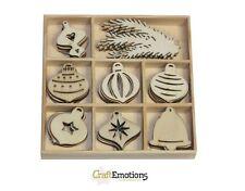 Craft Emotions BOÎTE de 40 FORMES EN BOIS ORNEMENTS NOËL BOULES 811500/0151