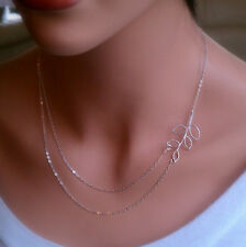 Double Chain Leaves Pendant Charm Silver Plated Short Chain Clavicle Necklace