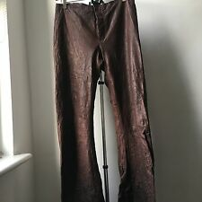 Super cool carpe diem par maurizio altieri en cuir marron pantalon sz 5 made italie