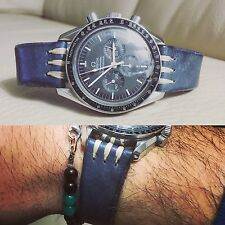 20 mm Navy Blue Leather Strap Leder bracelet armband cinturino for vintage uhr