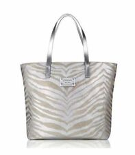 NEW MICHAEL KORS GLAMOROUS SILVER/GOLD TIGER PRINT CANVAS TOTE, SHOPPER HANDBAG