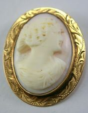 Antique Shell Cameo 10K Gold Carved Italian Female Lady Pin Brooch