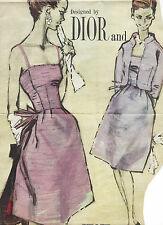 1960s Vintage Sewing Pattern B36 JACKET & DRESS (R996) By Christan Dior