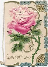 c1895 Luscious Pink Rose Victorian Christmas Embossed Die Cut Card